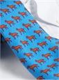 Silk Print Labrador Tie in Cobalt