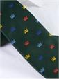 Silk Woven Crown Motif Tie in Forest