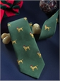 Silk Woven Christmas Dog in Forest Green