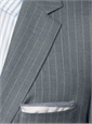Medium Grey Super 140s Tropical Wool Suit with Chalk Stripe