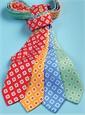 Silk Printed Tile Motif Tie in Red