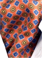 Silk  Neat Print Ascot in Orange