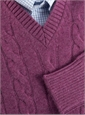 Cashmere Cable Knit Pullover Sweater in Loganberry