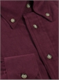 Thin Wale Corduroy Button Down in Ruby, Size Medium