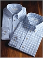 Sky and Cream Gingham Button Down in Cotton and Cashmere