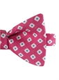Silk and Linen Square Motif Printed Bow Tie in Magenta