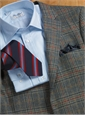 Navy and Sage Glen Plaid with Fire Red Windowpane