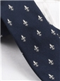Silk Woven Fleur de Lis Tie in Navy and White