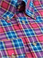 Long Sleeve Linen and Cotton Plaid Button Down in Raspberry