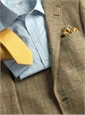 Olive Silk & Linen with Light Blue Windowpane Sport Coat