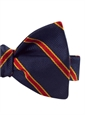 Silk Stripe Bow Tie in Navy and Ruby