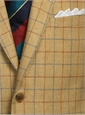Golden Straw Sport Coat with Windowpane in Cobalt and Spice Orange Windowpane
