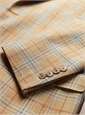 Tan Wool, Silk, and Linen Plaid with Red Windowpane Sport Coat