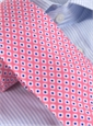 Silk Print Small Diamond Tie in Strawberry
