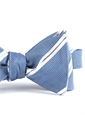 Mogador Silk Double Stripe Bow in Cobalt with White