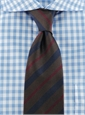 Woven Stripe Tie in Brown