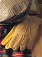 Tan And Gold Sheepskin Lined Deerskin Gloves