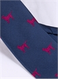 Jacquard Woven Lab Motif Tie in Navy and Pink