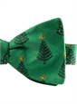 Jacquard Woven Christmas Tree Bow Tie in Holly Green
