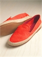 Women's Sueded Leather Espadrilles in Coral
