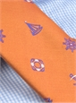 Silk Woven Tie with Sailing Motif in Orange