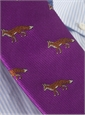 Silk Woven Fox Motif Tie in Fuchsia
