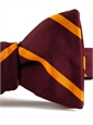 Mogador Silk Bar Stripe Bow in Claret and Marigold
