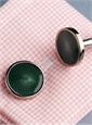 Round Fan Design Cufflinks in Green