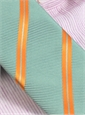 Mogador Silk Double Stripe Tie in Pistachio with Orange