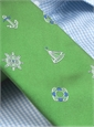 Silk Woven Tie with Sailing Motif in Grass
