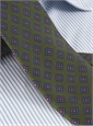 Silk Print Tie with a Diamond Motif in Olive