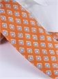Silk Print Diamond Motif Tie in Tangerine