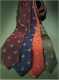 Silk Woven Tie with a Pheasant Motif in Indigo