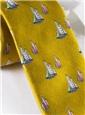 Silk Woven Sailboat Motif Tie in Marigold
