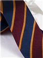 Silk Woven Block Stripe Tie in Claret and Navy