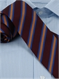 Silk and Cotton Woven Dual Stripe in Claret