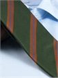 Silk and Cotton Woven Stripe Tie in Olive