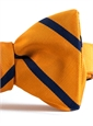 Mogador Silk Bar Stripe Bow in Marigold with Navy
