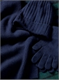 Cashmere Ribbed Scarf in Navy