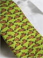 Silk Print Rabbit Motif Tie in Lime