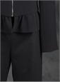 Ladies Crepe Black Ruffle Jacket