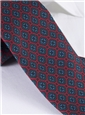 Silk Printed Madder Tie With Medallion Motif in Ruby