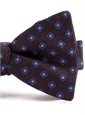 Silk Print Bow with a Diamond Motif in Brown