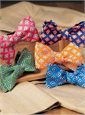 Silk Print Diamond Motif Bow Tie in Tangerine