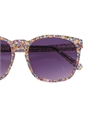 Liberty Sunglasses in Navy, Pink, and Gold Small Flower Print