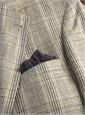 Jacket Silk/Linen Cream/Blue Glen Plaid W/Purple