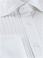 White Cotton Evening Shirt with Narrow Pleated Front