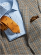 Cream and Coco Glen Plaid Lambswool Sport Coat with Blue and Sepia Windowpanes
