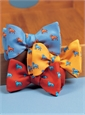 Silk Print Dog Motif Bow in Cobalt