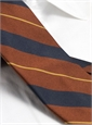 Silk Woven Stripe Tie in Spice and Navy